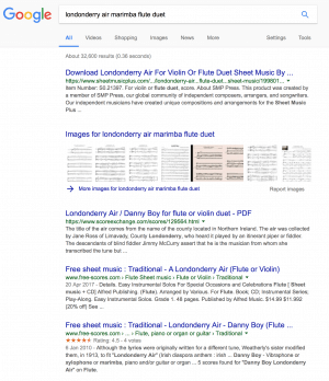 Screenshot of Google search results for Flute and Marimba duet