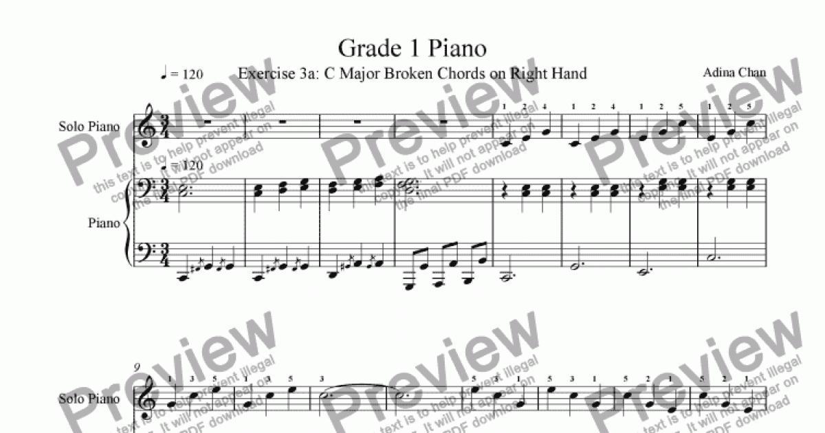 Grade 1 Piano Ex 3a C Major Broken Chords On Right Hand Sheet Music