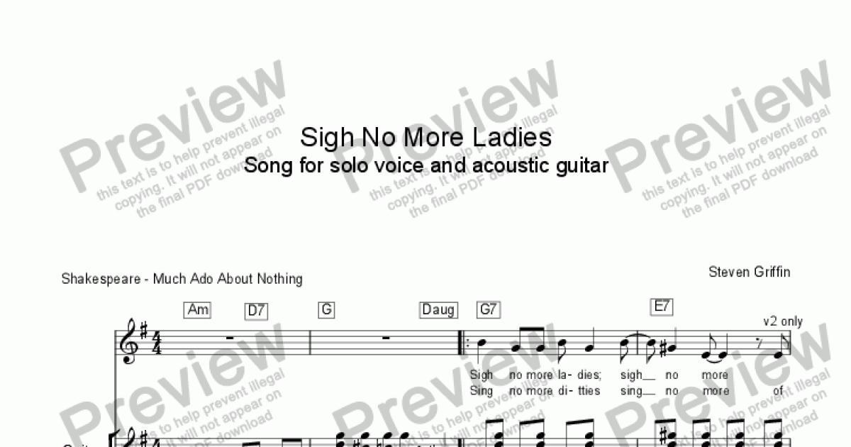 Sigh No More Ladies Song For Solo Voice And Acoustic Guitar Buy Pdf