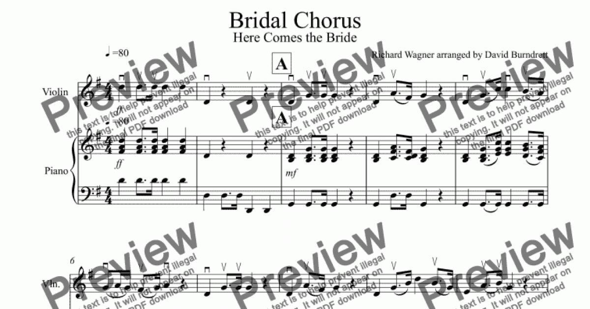 Bridal Chorus Here Comes The Bride For Violin And Piano Buy Pdf