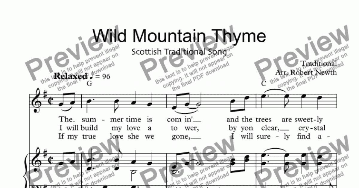 Wild Mountain Thyme Download Sheet Music Pdf File