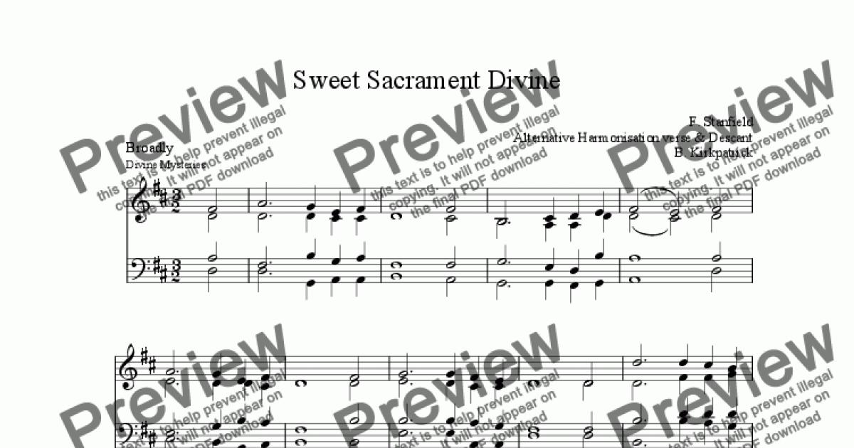 Sweet Sacrament Divine - wtih Alt Harmony & Descant - Sheet Music PDF