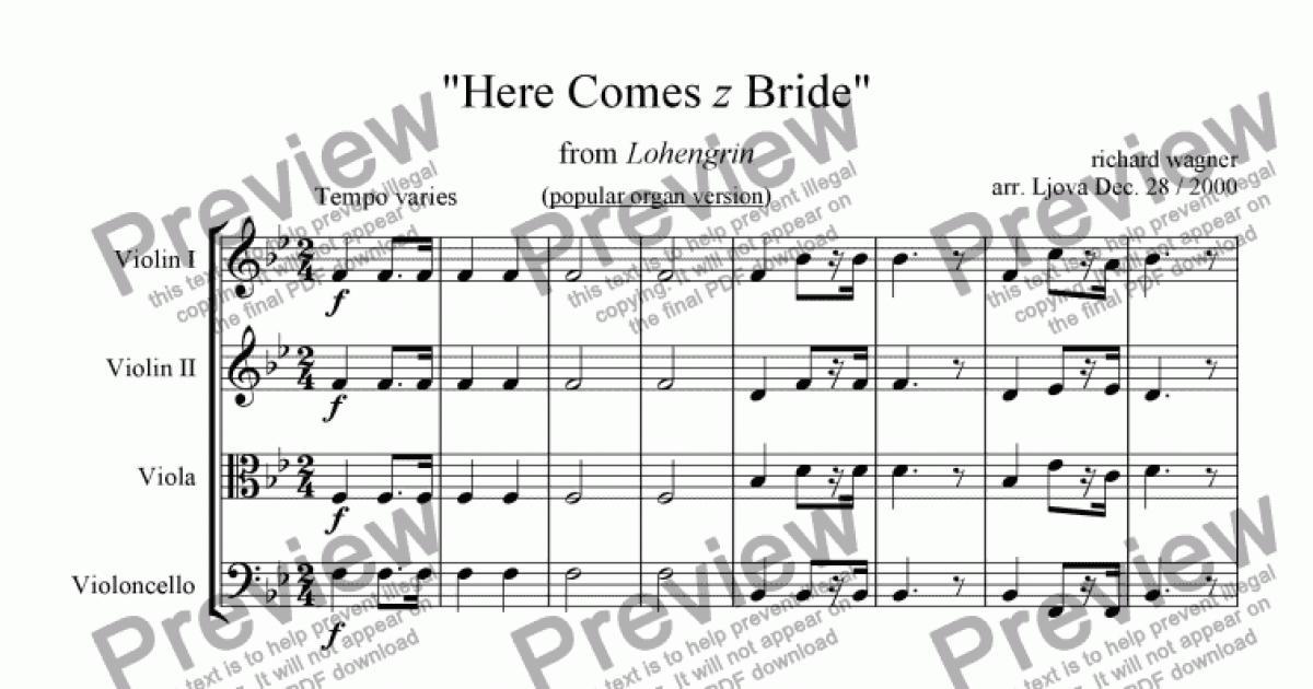 Bridal Chorus From Lohengrin I E Here Comes The Bride Pdf