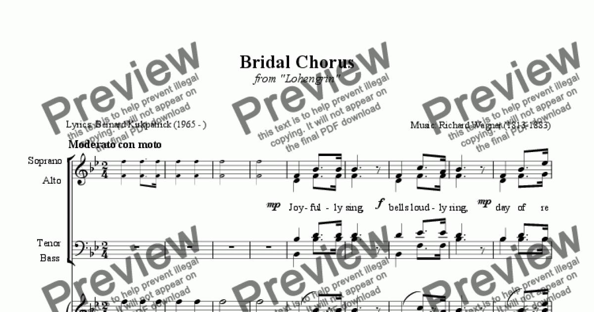 Here Comes The Bride Arr Satb Download Sheet Music Lyrics Pdf