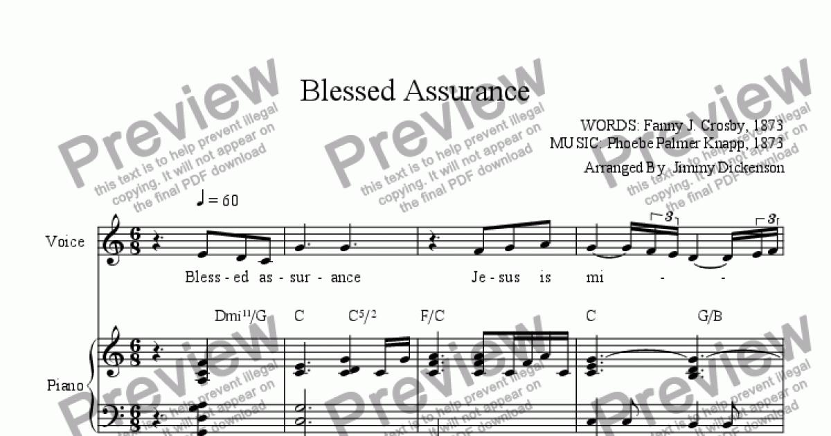 chord chart w/voice part from Blessed Assurance - Sheet Music PDF file