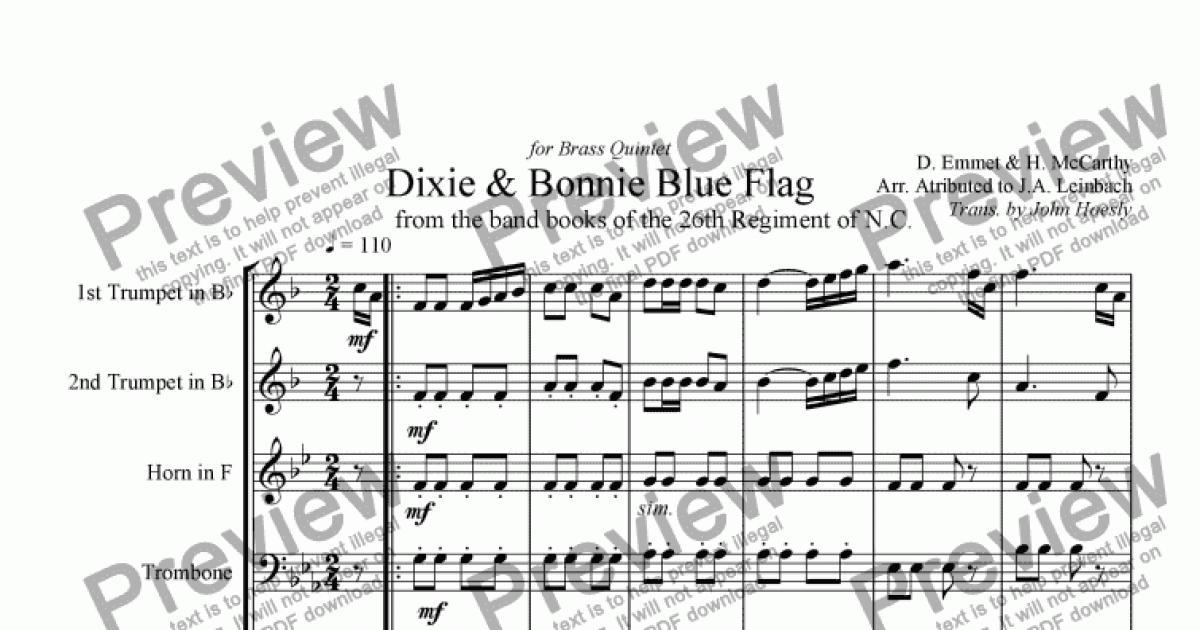 All Music Chords brass choir sheet music : Dixie & Bonnie Blue Flag- Brass Quintet opt. Drums - Buy PDF