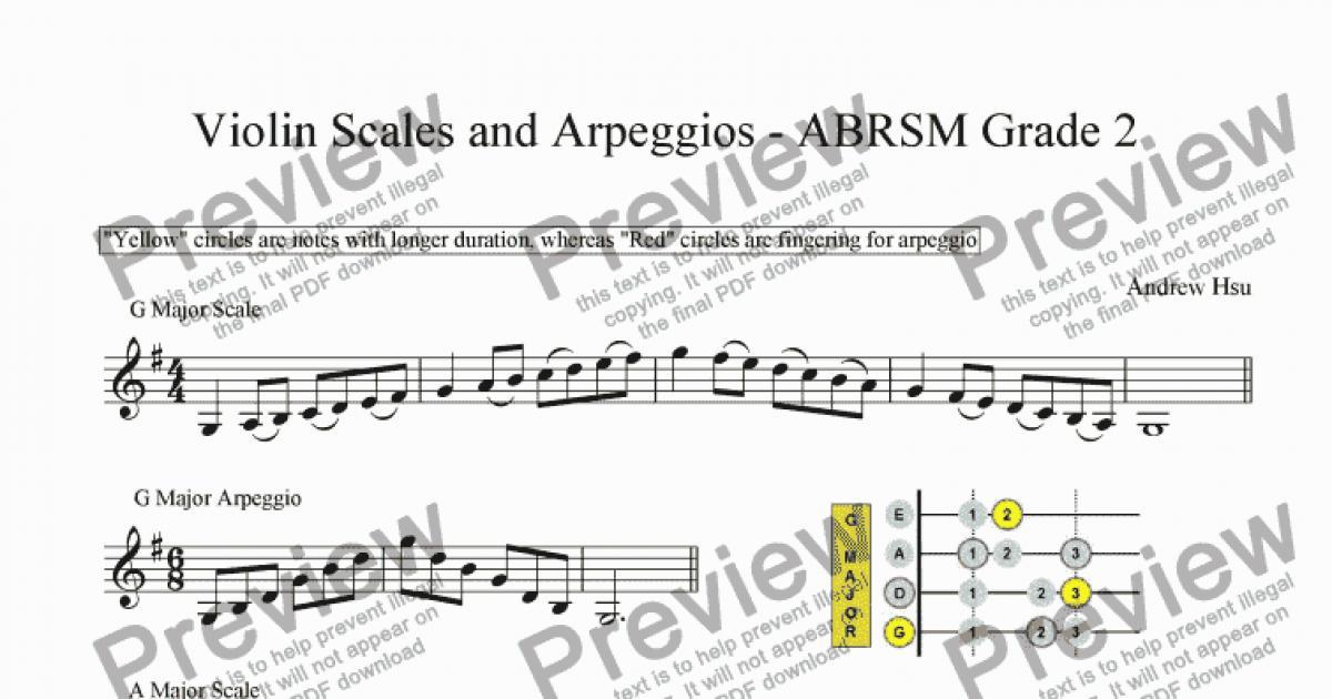 Violin free violin sheet music pop : Violin Scales and Arpeggios - Grade 2 - Sheet Music PDF file