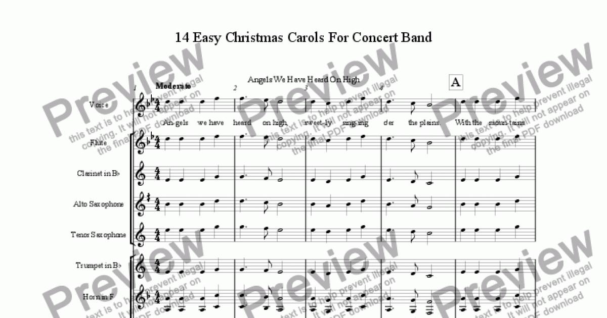 Christmas Music Sheets.14 Easy Christmas Carols For Concert Band For Concert Band Wind Band By Traditional Sheet Music Pdf File To Download