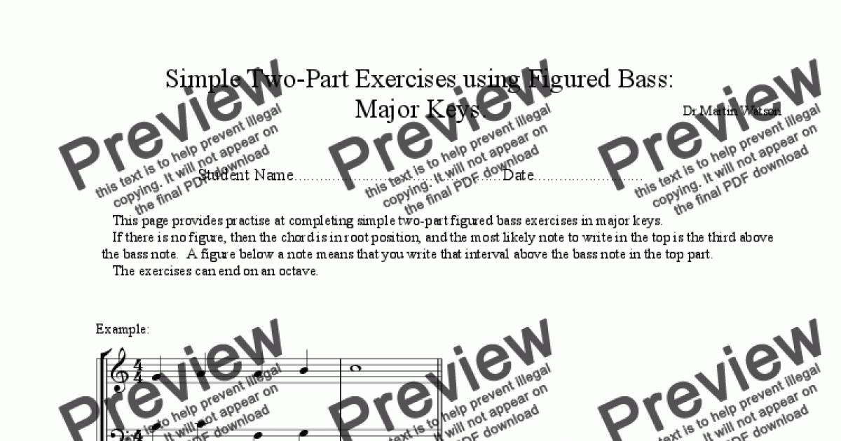 simple two part exercises using figured bass in major and minor keys. Black Bedroom Furniture Sets. Home Design Ideas