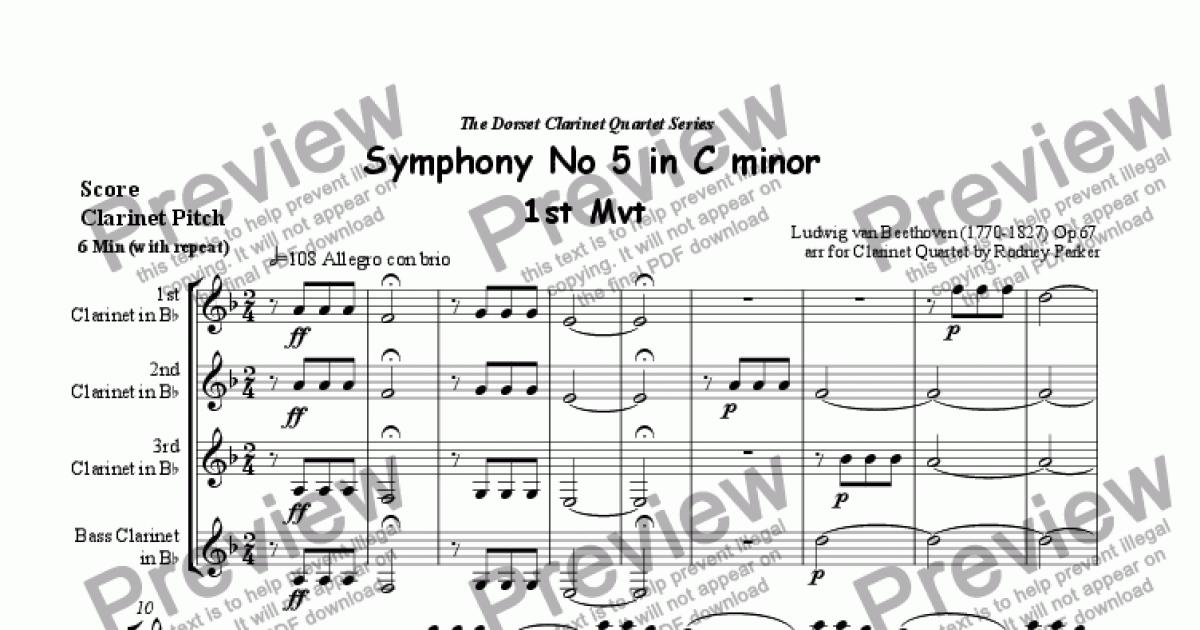 All Music Chords beethoven s 5th sheet music : Beethoven's 5th Symphony 1st Mvt arr for Clarinet Quartet by ...