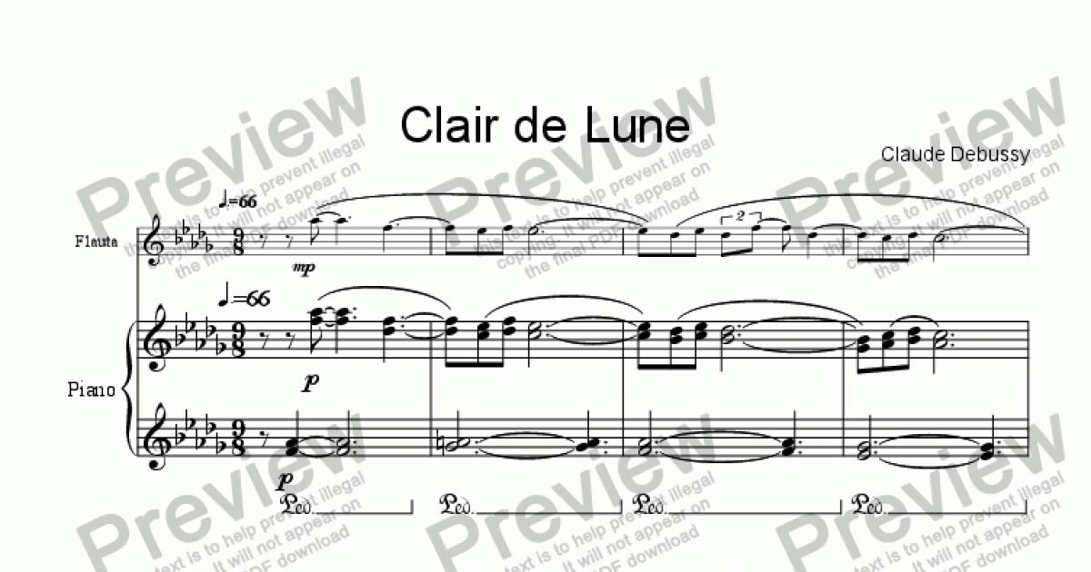 Piano free piano sheet music clair de lune : Debussy, Clair de Lune flute & piano - Sheet Music PDF file