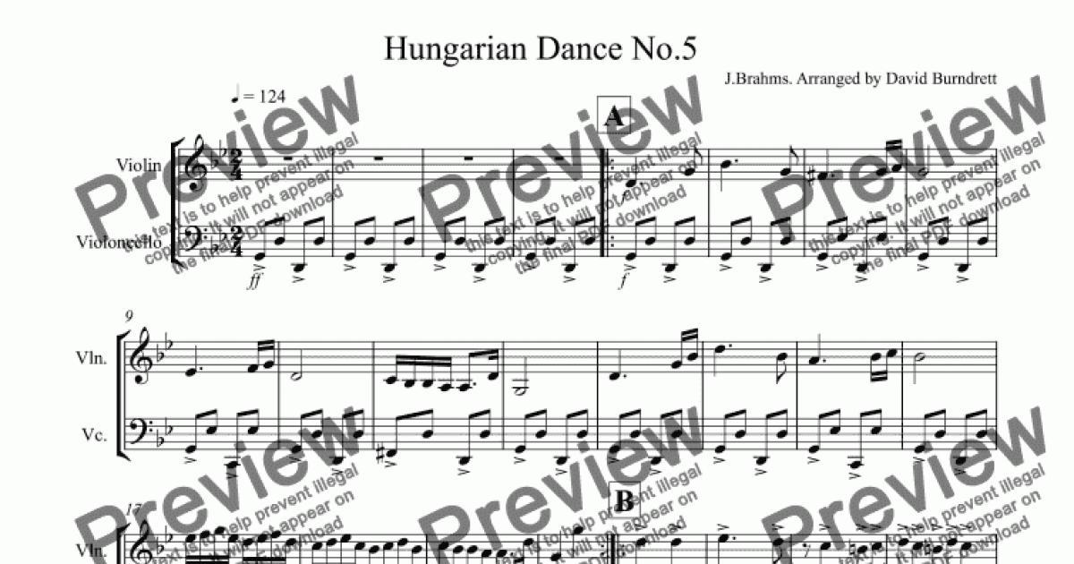 Piano hungarian dance 5 piano sheet music hungarian for Georg direttore orchestra ungherese