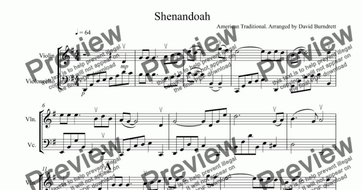 All Music Chords sheet music shenandoah : Shenandoah for Violin and Cello - Download Sheet Music PDF