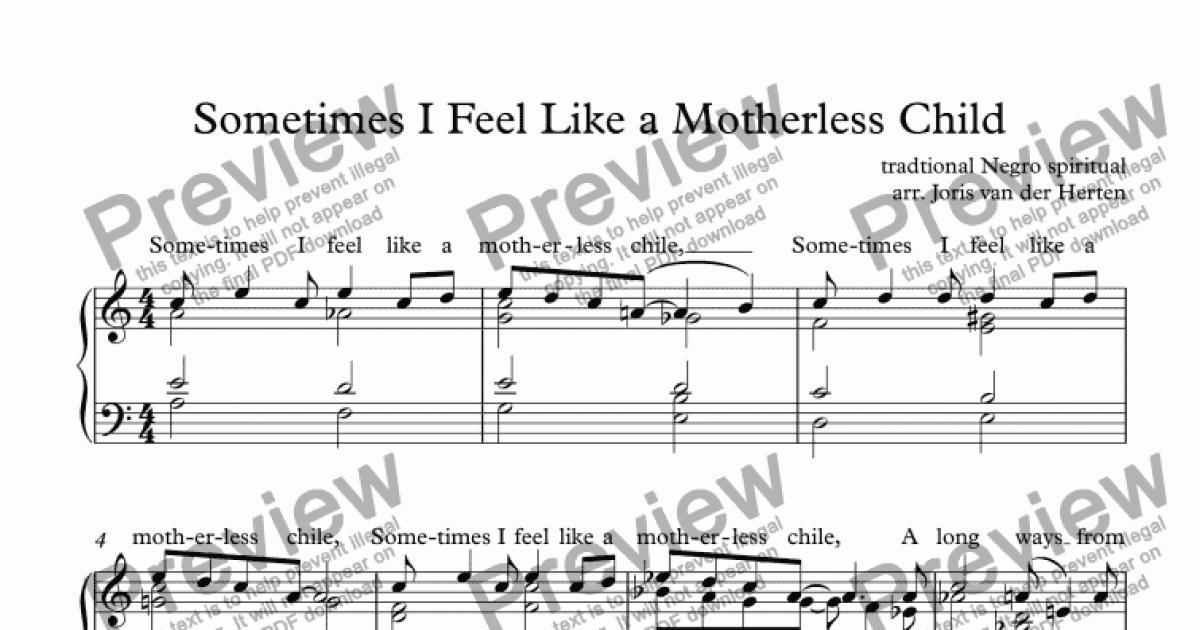 Sometimes I Feel Like a Motherless Child (piano) - Buy PDF