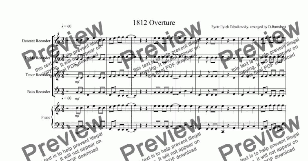All Music Chords 1812 overture music sheet : 1812 Overture for Recorder Quartet - Sheet Music PDF file