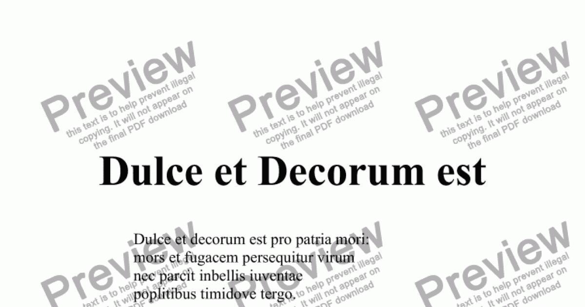 dulce et decorum est download sheet music pdf file. Black Bedroom Furniture Sets. Home Design Ideas