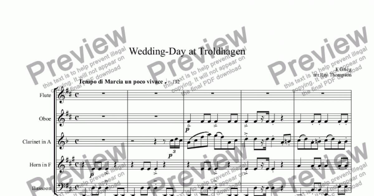 All Music Chords grieg wedding day at troldhaugen sheet music : Grieg: Wedding-Day at Troldhaugen (arr. wind quintet) - PDF