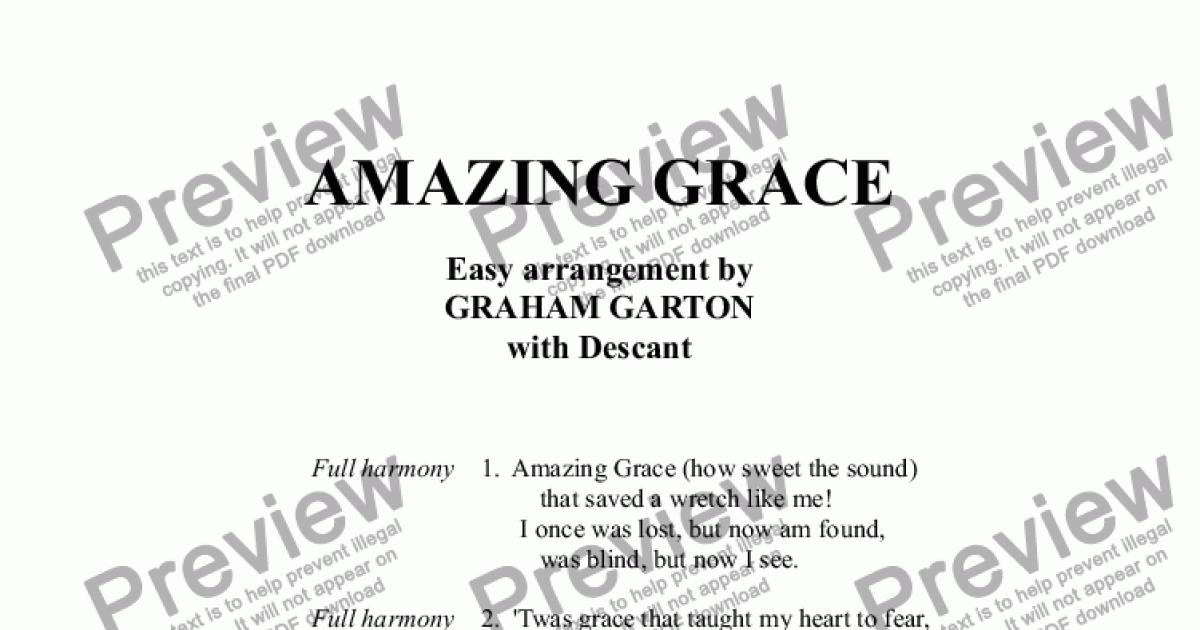 organ part from hymn amazing grace easy arrangement with descant for choir satb and organ. Black Bedroom Furniture Sets. Home Design Ideas