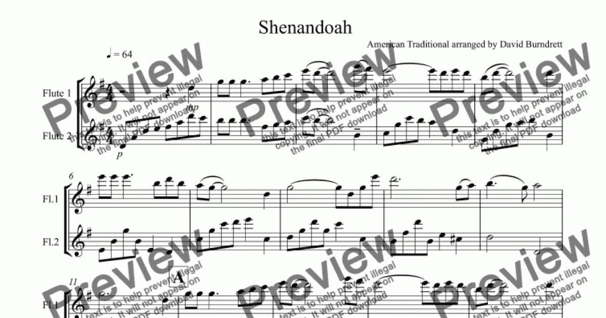 All Music Chords sheet music shenandoah : Shenandoah for Flute Duet - Download Sheet Music PDF file