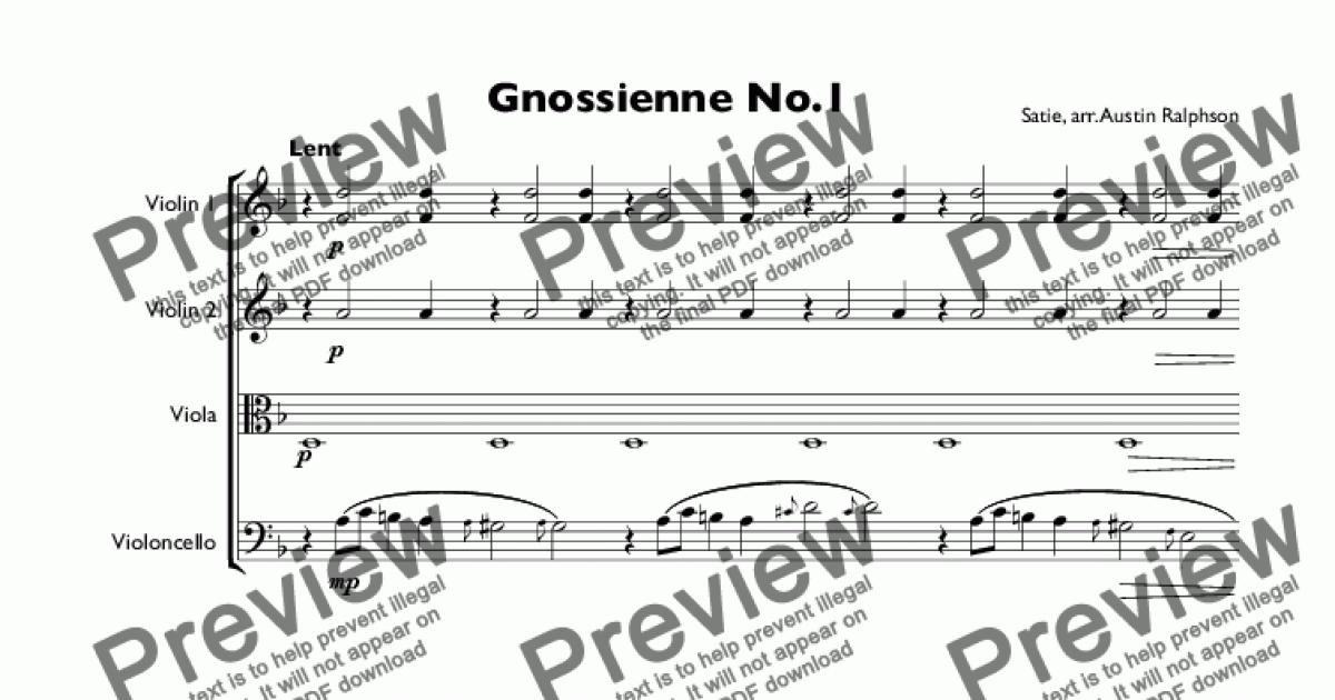 All Music Chords gnossienne no 1 sheet music : Gnossienne No.1 - string quartet - Download Sheet Music PDF
