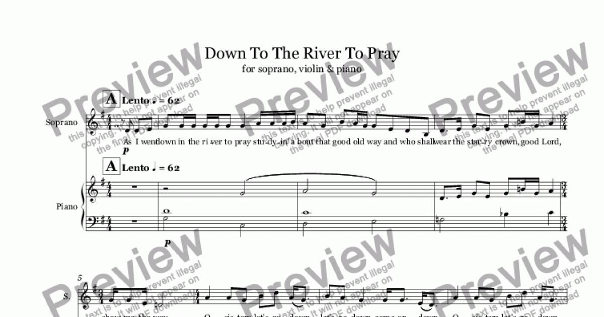 Down To The River To Pray (voice+violin+piano) - Sheet Music