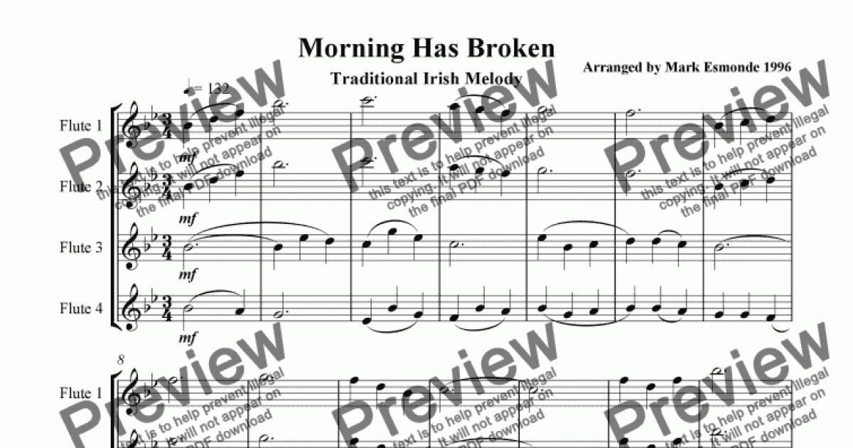 Morning Has Broken, Flute choir/quartet. - Download PDF file