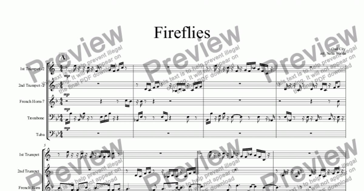 All Music Chords free french horn sheet music : Fireflies - Download Sheet Music PDF file