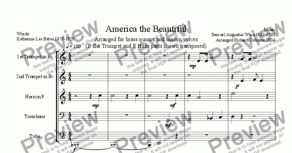 America the Beautiful (Transposed for Brass Quintet) - PDF