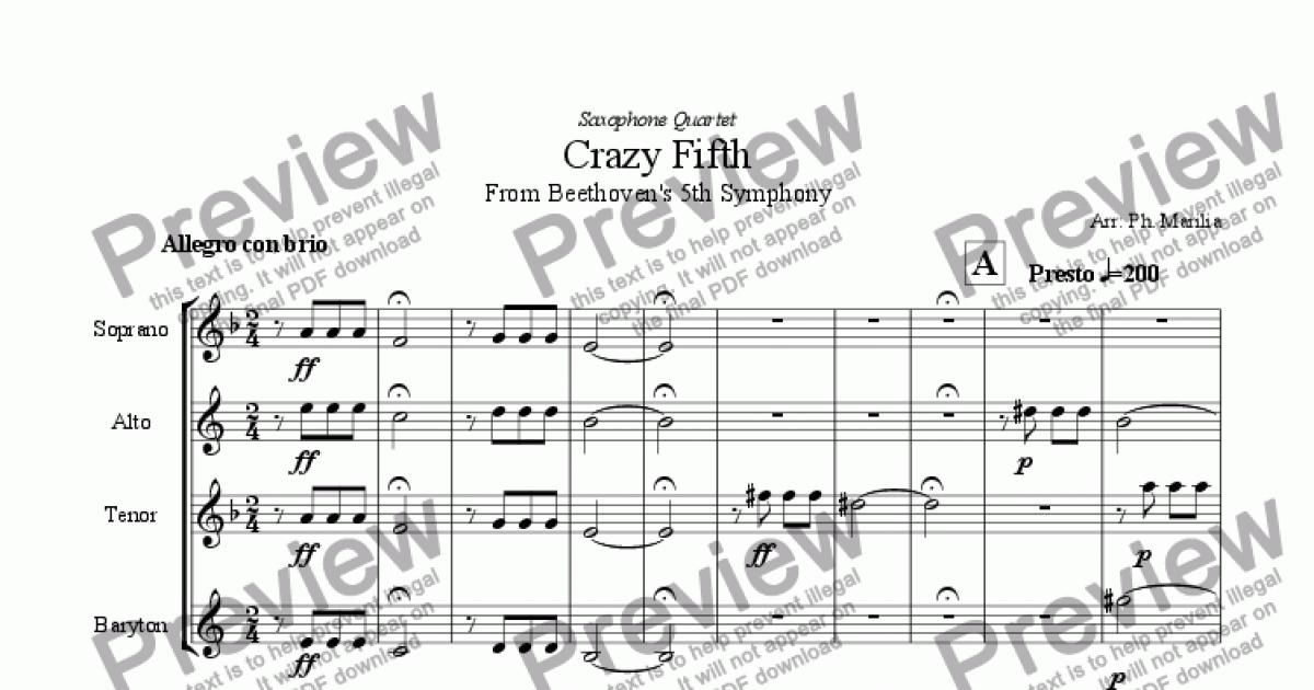 All Music Chords beethoven s 5th sheet music : Beethoven - Crazy Firth (Sax Quartet) - Sheet Music PDF file