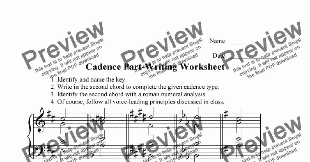 Cadence Part Writing Worksheet Download Sheet Music Pdf
