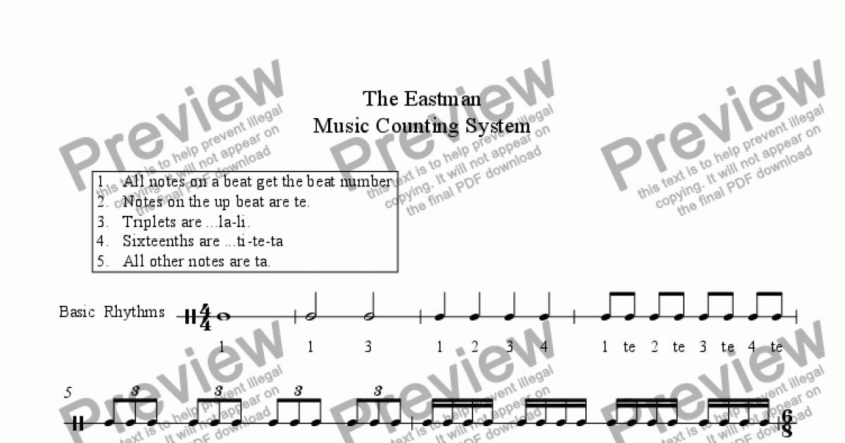 Eastman Counting Sysytem Download Sheet Music PDF file – Rhythm Counting Worksheets