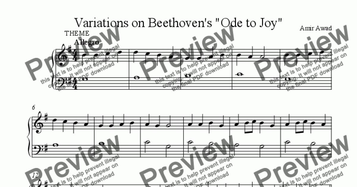 Variations on Beethoven's Ode to Joy - Sheet Music PDF file