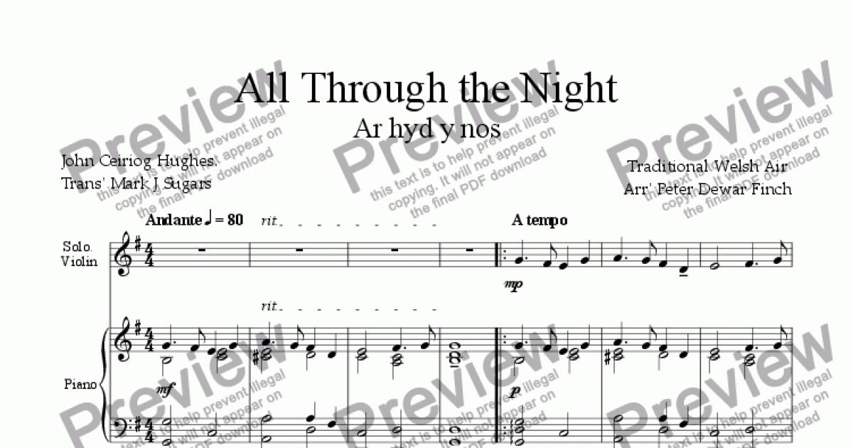 All Through the Night for Violin and Piano - Sheet Music PDF