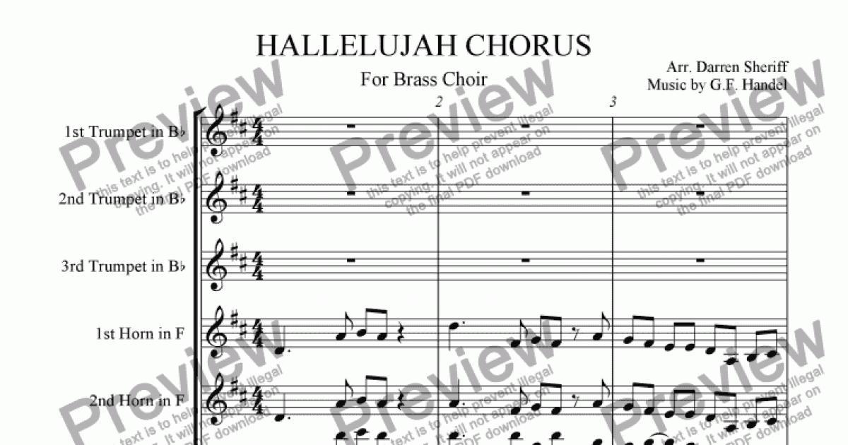 All Music Chords brass choir sheet music : 2nd French Horn part from Hallelujah Chorus for Brass Octet