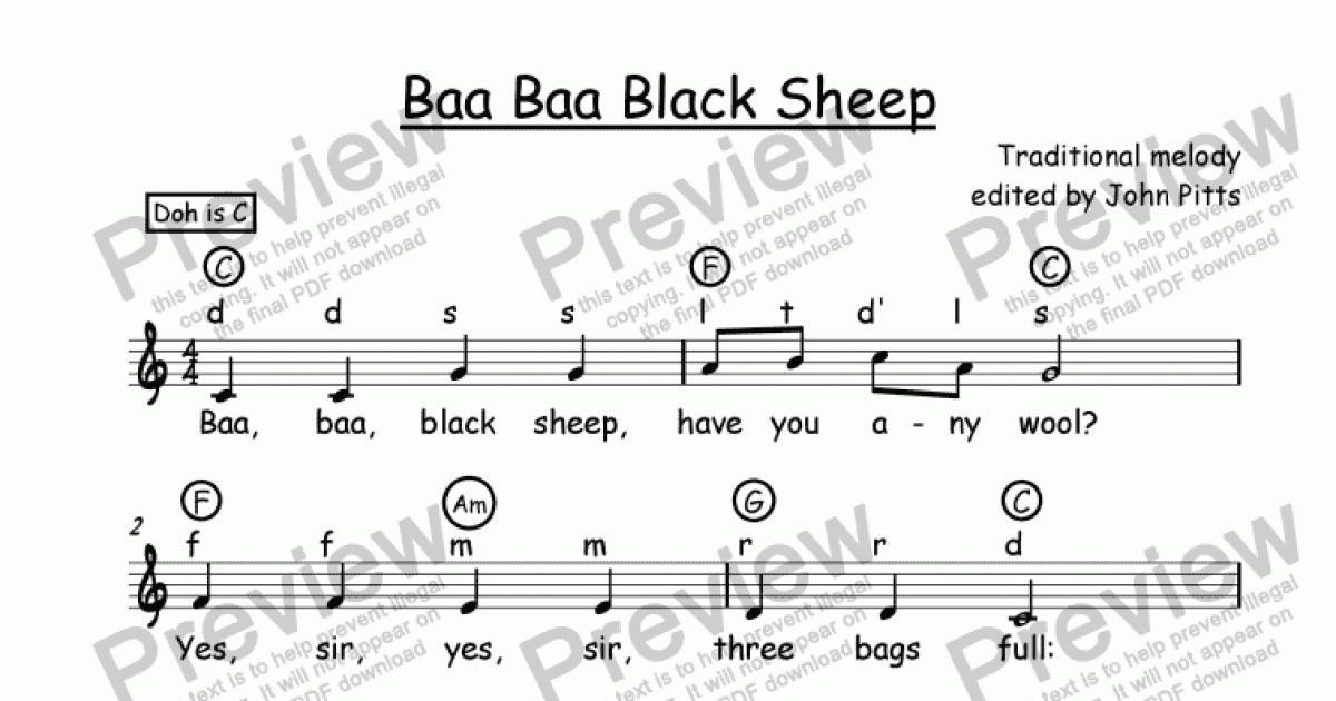 Nursery Rhyme) Baa Baa Black Sheep - Sheet Music PDF file