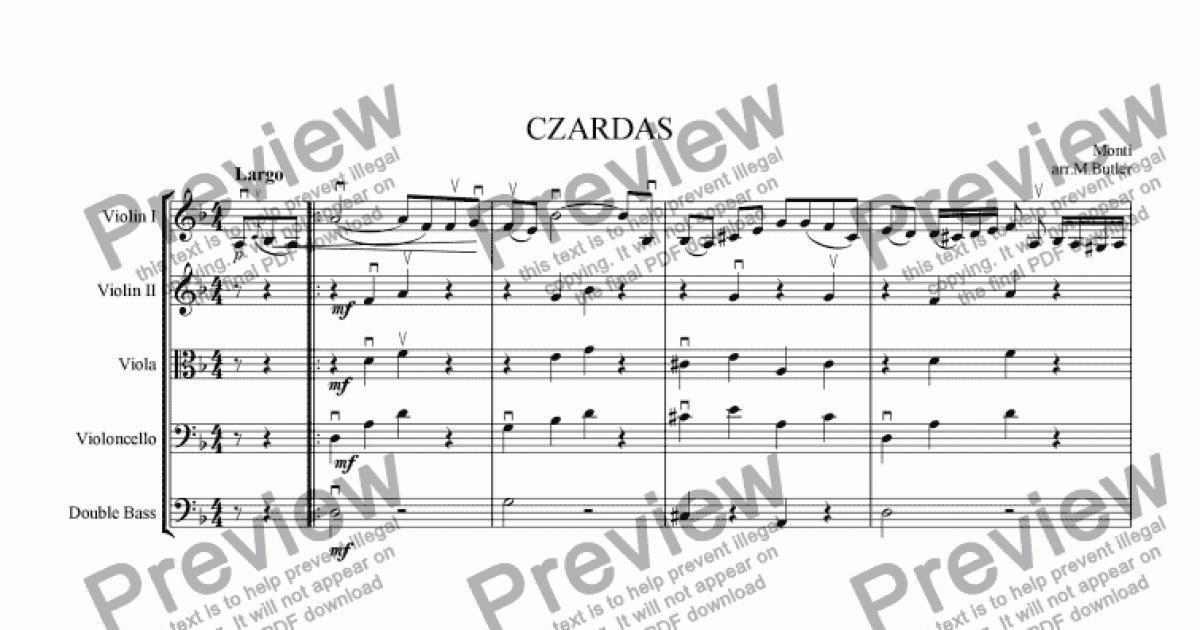 Double Bass part from Czardas - Download Sheet Music PDF