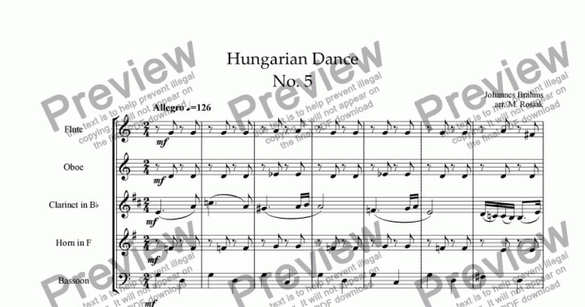 hungarian dance no 5 sheet music pdf