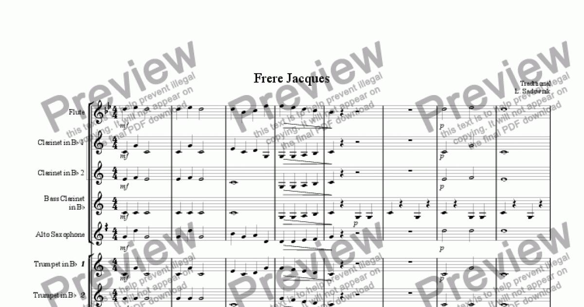 Clarinet 2 Part From Frere Jacques Sheet Music Pdf File
