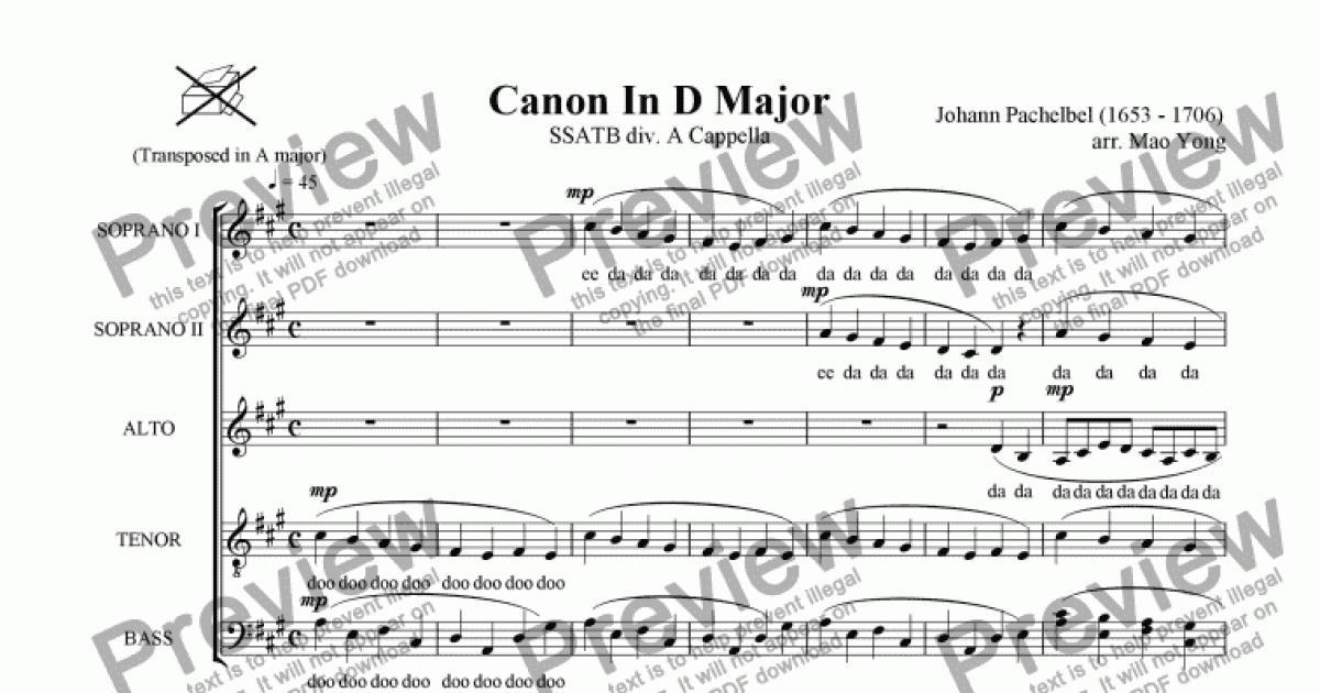 Canon In D Major (SSATB div. A Cappella) - Download PDF file