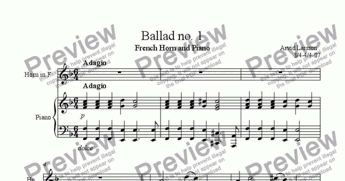 All Music Chords free french horn sheet music : Ballad no 1 for French Horn and Piano - Sheet Music PDF file