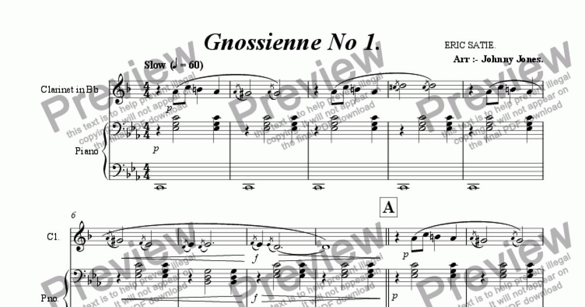 All Music Chords gnossienne no 1 sheet music : Gnossienne No 1 (Bb Clarinet and Piano) - Sheet Music PDF