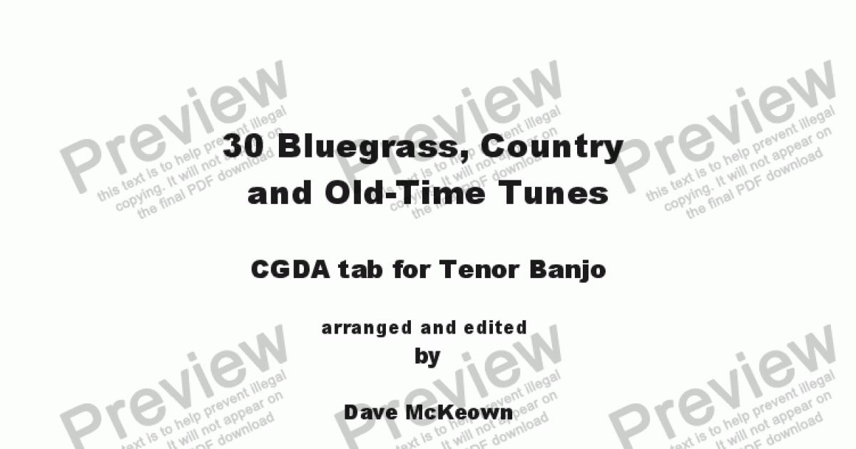 30 Bluegrass And Country Tunes Cgda Tab For Tenor Banjo