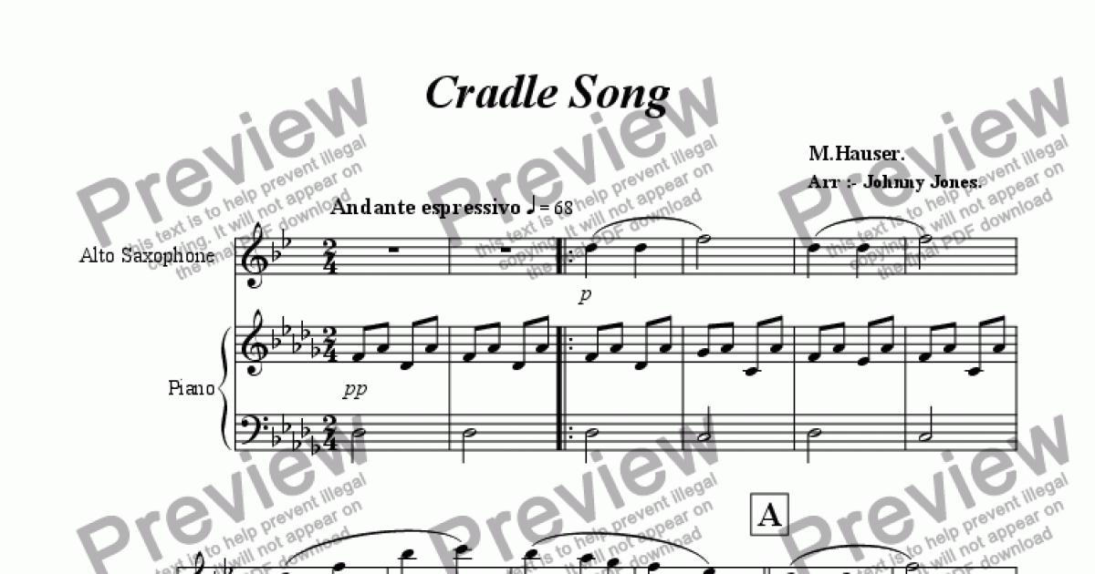 Cradle Song Alto Saxophone And Piano Download Sheet Music Pdf