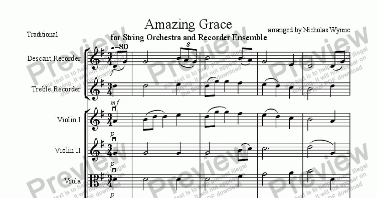 Amazing Grace for String Orchestra and Recorder Ensemble