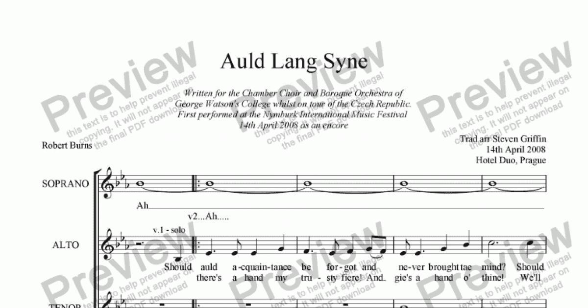 Lyric same old lang syne lyrics : Auld Lang Syne (SATB a cappella) - Download Sheet Music PDF