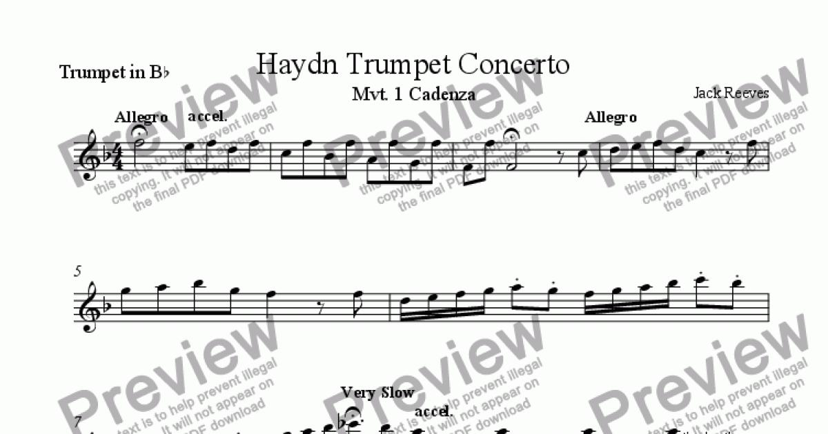 All Music Chords haydn trumpet concerto sheet music : Haydn Trumpet Concerto - Cadenza - Bb Trumpet - Sheet Music