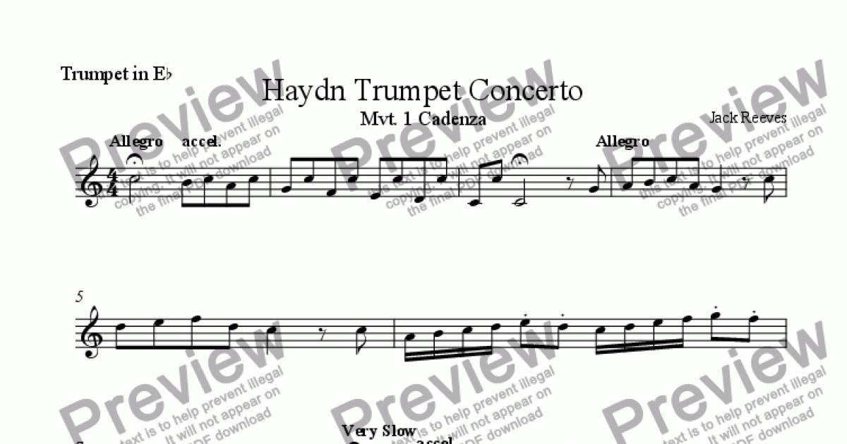 All Music Chords haydn trumpet concerto sheet music : Haydn Trumpet Concerto - Cadenza - Eb Trumpet - Sheet Music