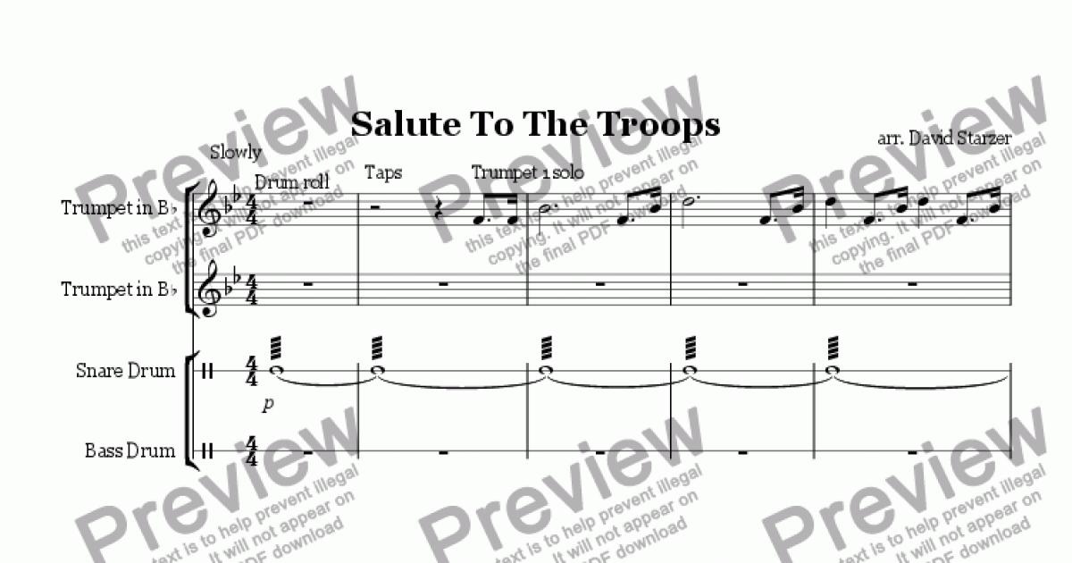 Piano piano and trumpet duet sheet music : Salute To The Troops (Trumpet Duet) - Sheet Music PDF file