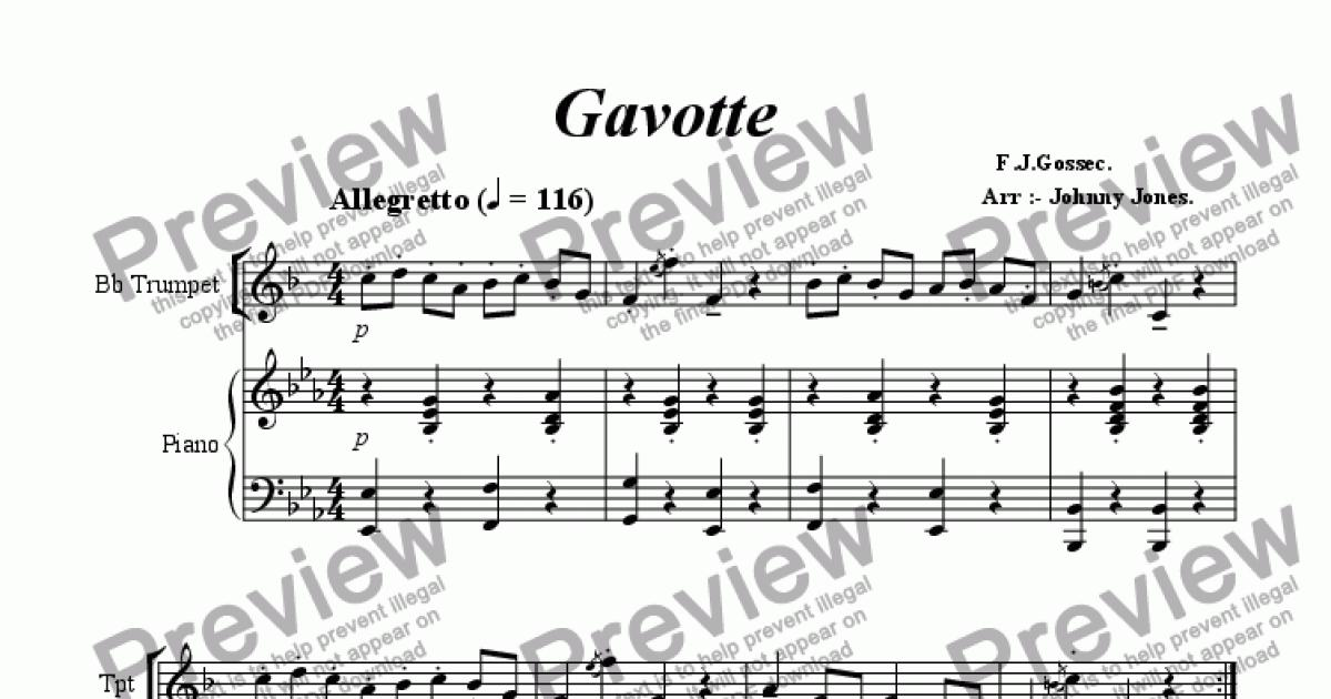 Piano piano and trumpet duet sheet music : Gavotte (Bb Trumpet and Piano) - Download Sheet Music PDF