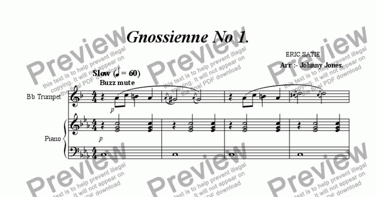 All Music Chords gnossienne no 1 sheet music : Gnossienne No 1. (Bb Trumpet and Piano) - Sheet Music PDF